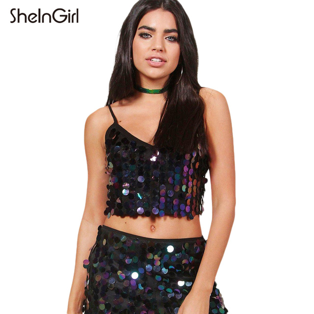 64e29d22637e1 SheInGirl Black Purple Crop Tops Women Sleeveless Backless Straps Shining  Sequin Vests Female Zipper Sexy Casual Tanks