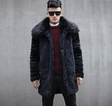 цены на Autumn faux mink leather jacket mens big fur collar winter thicken warm fur leather coat men slim jackets fashion black  в интернет-магазинах