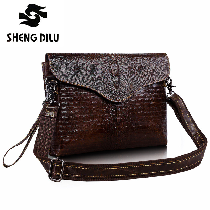2016 New Vintage bag Bolsos Men Genuine Leather Envelope  Handbags High Quality Brand One Shoulder Crossbody Messenger Bags