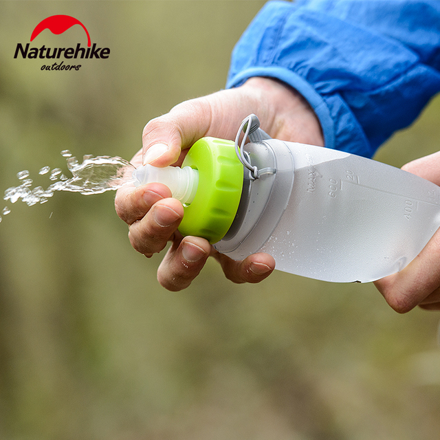NatureHike 750ML Sport Bottle Water Bottles Outdoor Cup Portable Silicone Folding Drinkware With Straw Bicycle Water Bottle 5