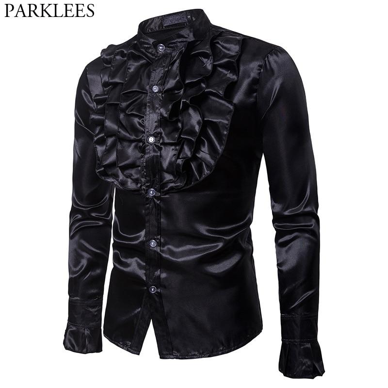 Black Silk Satin Slim Fit Shrt Men Vintage Wedding Tuxedo Dress Shirts Mens Unique Design Gothic Flower Shirt Male Chemise Homme