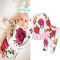 2017 moda rosa da menina do bebê roupas de Outono roupa do bebê set 2 pcs algodão longo-manga roupas meninas do bebê recém-nascido conjunto