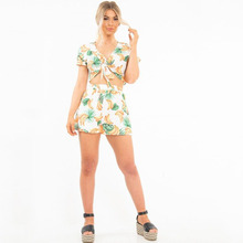 VZFF Womens Summer Beach New Straps With Printed Two-Piece Suit Rompers 2019 Spring And Casual Chiffon Clothing