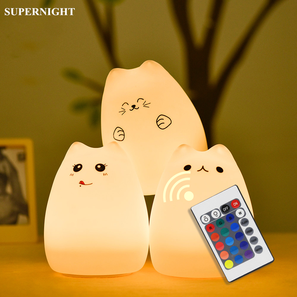 Cartoon Cat LED Night Light Remote Control Touch Sensor Colorful USB Rechargeable Silicone Bedside Lamp For Children Baby Gift