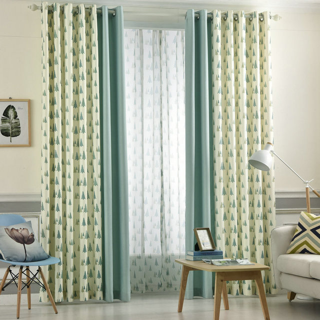 New Arrival Summer Leaves Printed Window Drapes Blue Green Curtain ...