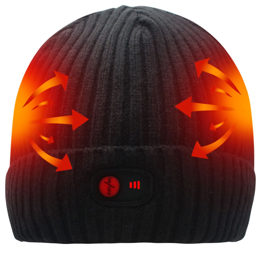 7.4V Heated Hat Winter Unisex Soft Rechargeable Battery Durable Heating Beanie Cap Black Warm Knit Beanie womail delicate unisex slouchy oversize winter warm braided beanie cap warm winter hat w7