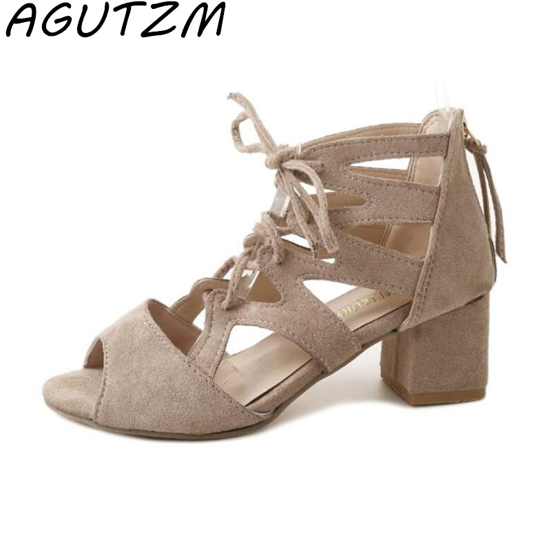 AGUTZM Sandals Summer 2018 Sexy Women Pumps Open Toe Lace Up Heels Sandals Woman Sandals Thick with Women Shoes Women High Heels xiaying smile woman pumps shoes women spring autumn wedges heels british style classics round toe lace up thick sole women shoes