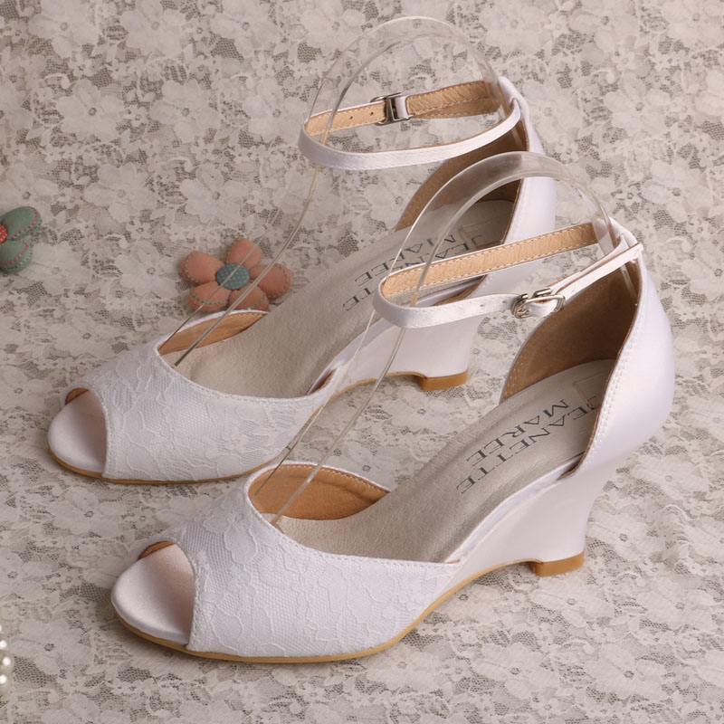 Wedopus Ladies Ankle-wrap White Lace Wedge Heel Bridal Sandals for Wedding 2016 autumn fashion women full grain leather flat heel white shoes student bling round toe leather brand basic flats loafers