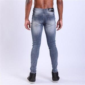 Image 3 - Pantalones vaqueros superajustados de una sola carretera para hombre 2019 nuevos vaqueros de color azul oscuro pantalones vaqueros elásticos de alta calidad de Hombre de marca