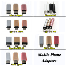 ChengHaoRan 3pcs/lot For lightning Type-C Adapter to Micro USB / 3.0 Type C iPhone/Android Data Cable Converter