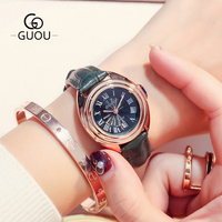 GUOU Retro Calendar Women's Watches Roman Numerals Rose Gold Clock Date Leather Band Ladies Dress Quartz Wristwatch relojes 8211
