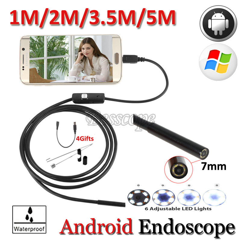 7mm Lens Android USB Endoscope Camera 5M 3.5M 2M 1M Hard Wire and Flexible Snake USB Pipe Waterproof Borescope Android Camera wire world starlight 7 usb 2 0 a b 0 5m