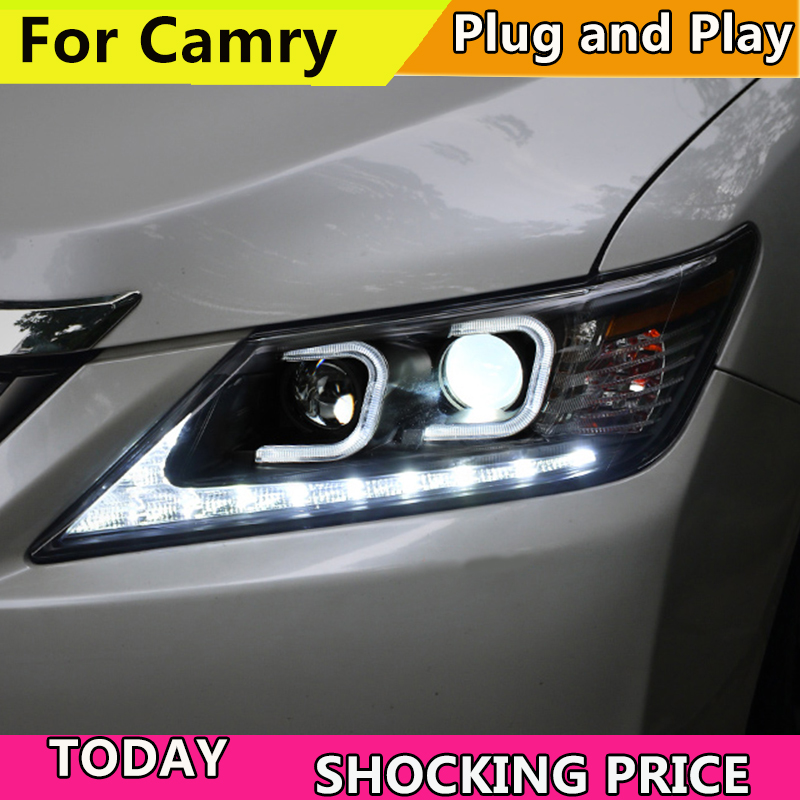 Car Styling Head Lamp Case For Toyota Camry V50 Headlights 2012 2013 2014 LED Headlight DRL H7 HID Xenon Low Beam bi-xenon lens auto part style led head lamp for toyota tundra led headlights 09 11 for tundra drl h7 hid bi xenon lens angel eye low beam