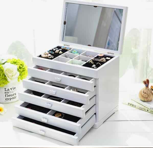 Организация хранения коробка шкатулка для украшений, деревянная принцесса Европейский стиль с зеркалом хранения свадебный подарок косметичка