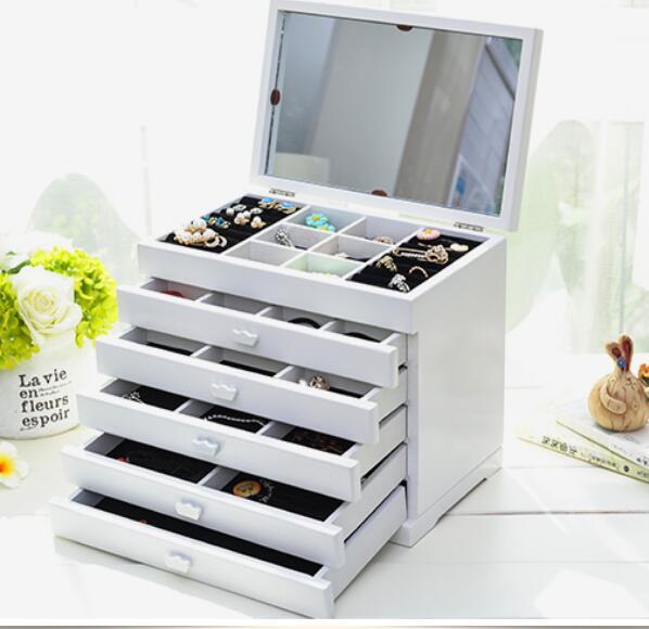 Organisador boîte de rangement boîte à bijoux en bois princesse Style européen avec un miroir rangement mariage cadeau trousse à maquillage à compartiments