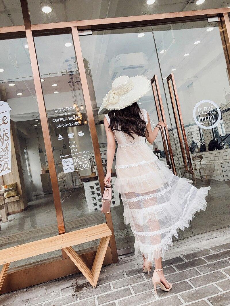 Conduites 2019 Plage Couture Maille Picture Carburant Mode Color D'été Piste Supérieure Femme Nouveauté Lacet Robe Qualité De qx7vO4t