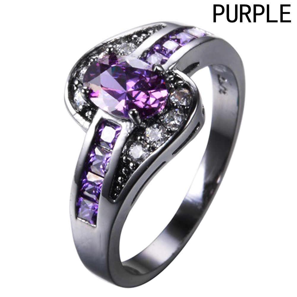 Anillo de circonita de cristal Natural de amatistas de compromiso de lujo para mujer joyería nupcial de fiesta de boda bijoux