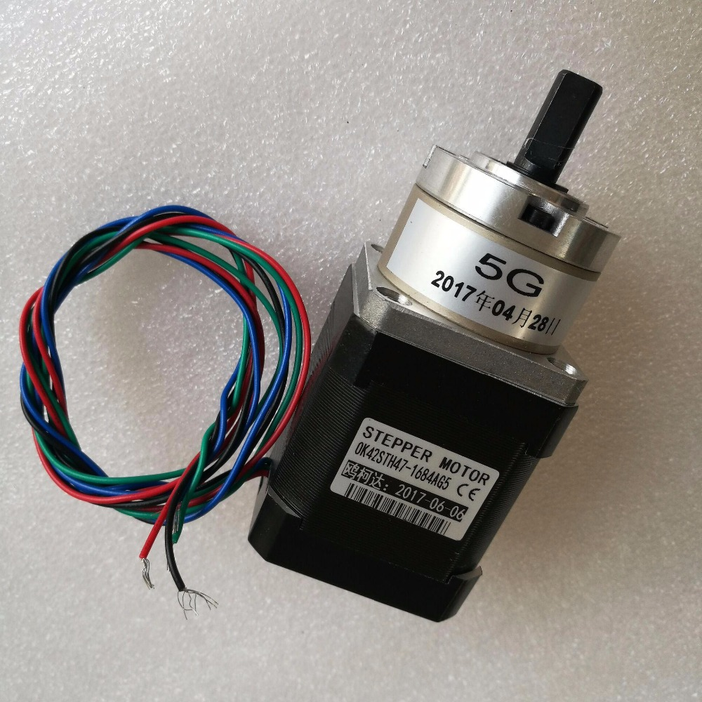 free shipping 4pcs 4-lead Nema17 Stepper Motor 42 motor Extruder Gear StepperMotor Ratio 5:1 Planetary Gearbox Nema 17 Stepper