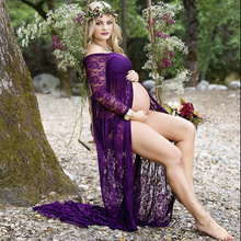 все цены на Lace Long Sleeve Pregnancy Dress Photography Props Maternity Dresses Shoot Maxi Gown Dresses For Pregnant Women Clothes онлайн