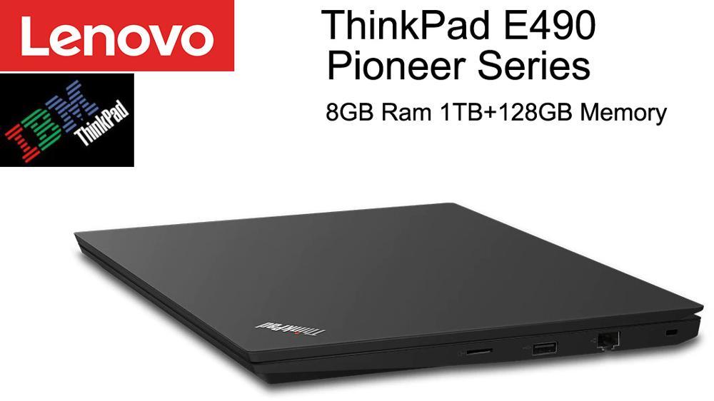 Lenovo laptop, laptop de negócios clássico thinkpad e490 pioneer série com 14 polegadas fhd anti-reflexo i7 i5 cpu 8gb 1tb amd dedicado