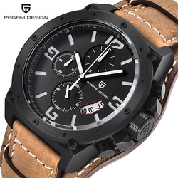 PAGANI DESIGN Watch Men's Military Quartz Watch Brown Leather Brand Luxury Waterproof 3ATM Wistwatch Multifunctional Sports