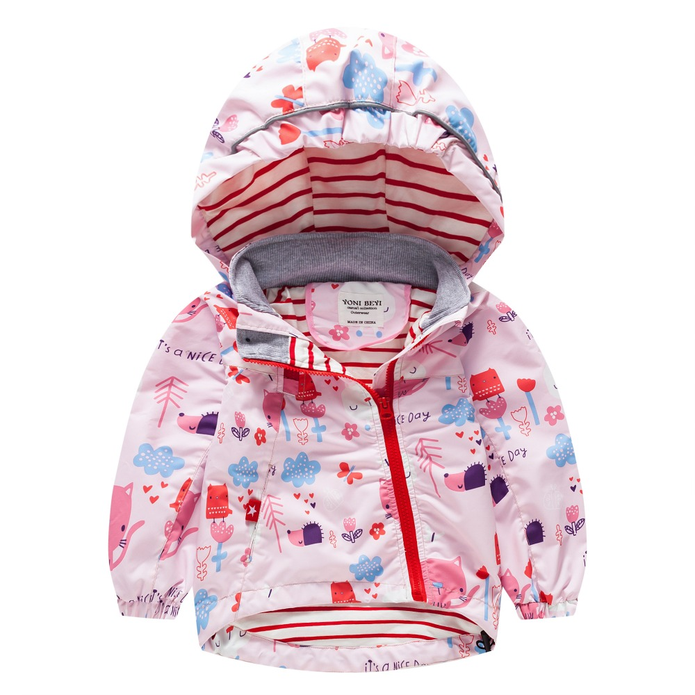 TYY-05 Spring Autumn Fashion Cartoon Coat Hoodie Child Jacket Girls Tops Windbreaker cute Cat Print Thin Coat Summer Thin Jacket letter print raglan hoodie