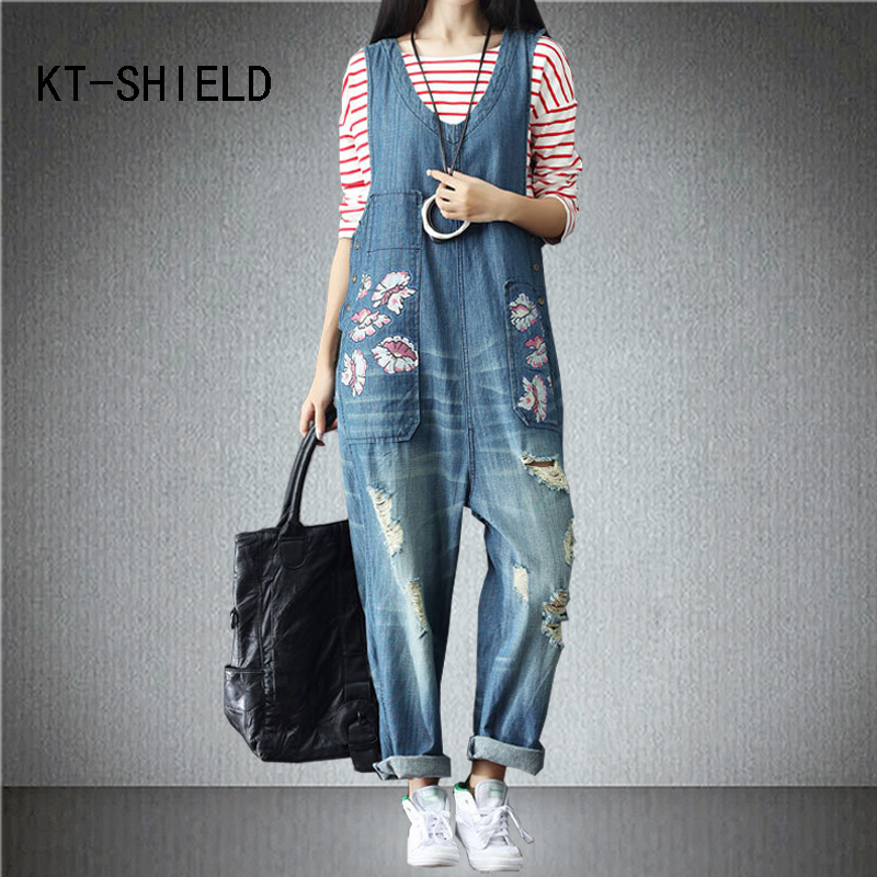Plus size ripped holes boyfriend denim jeans Loose Female casual wide leg pants fashion rompers print womens jumpsuit overalls f gattien 3377 314ор