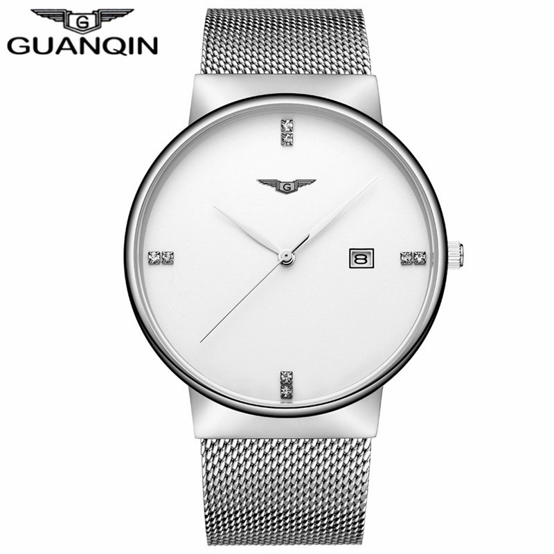 ФОТО GUANQIN GS19054 Luxury Brand Business Casual Black Stainless Steel Men Fashion Calendar Waterproof Wristwatch Montre Homme