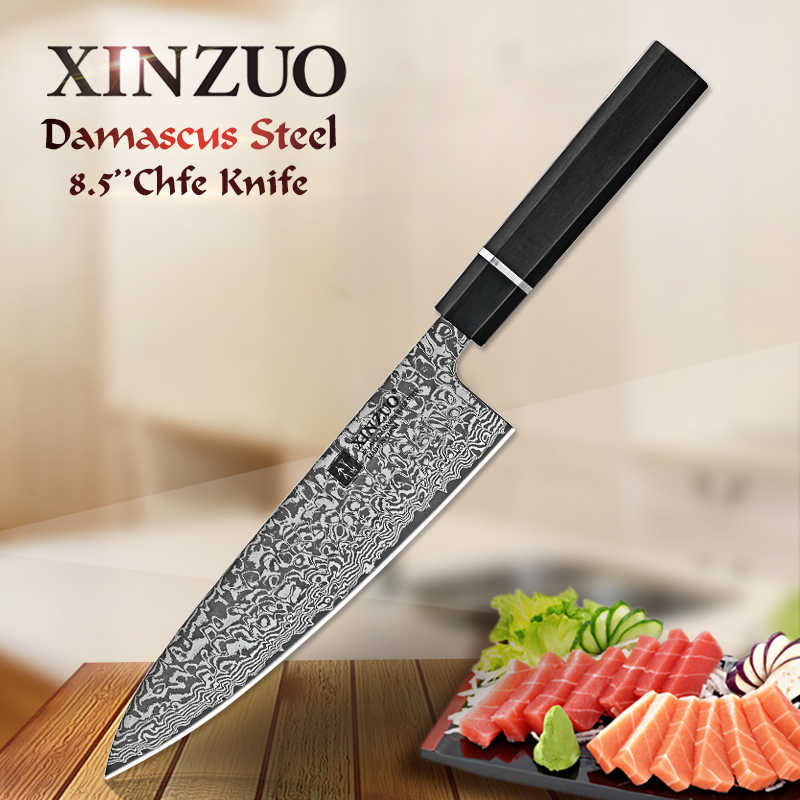 XINZUO 8.5-in Chef's Kitchen Knife High Carbon Japanese Series Damascus Steel High Quality Knives Ebony Wood+Buffalo Horn Handle