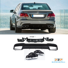 купить a set of PP car rear bumper diffuser with exhaust pipe muffler tail fit for Mercedes 14-16 Benz class E W212 AMG upgrate to E63 дешево