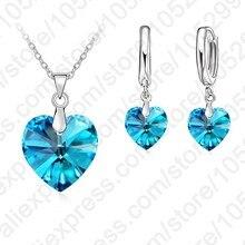 Романтический стерлингового серебра 925 синий кубический циркон сердце Форма кулон Для женщин Наборы свадебных ювелирных изделий