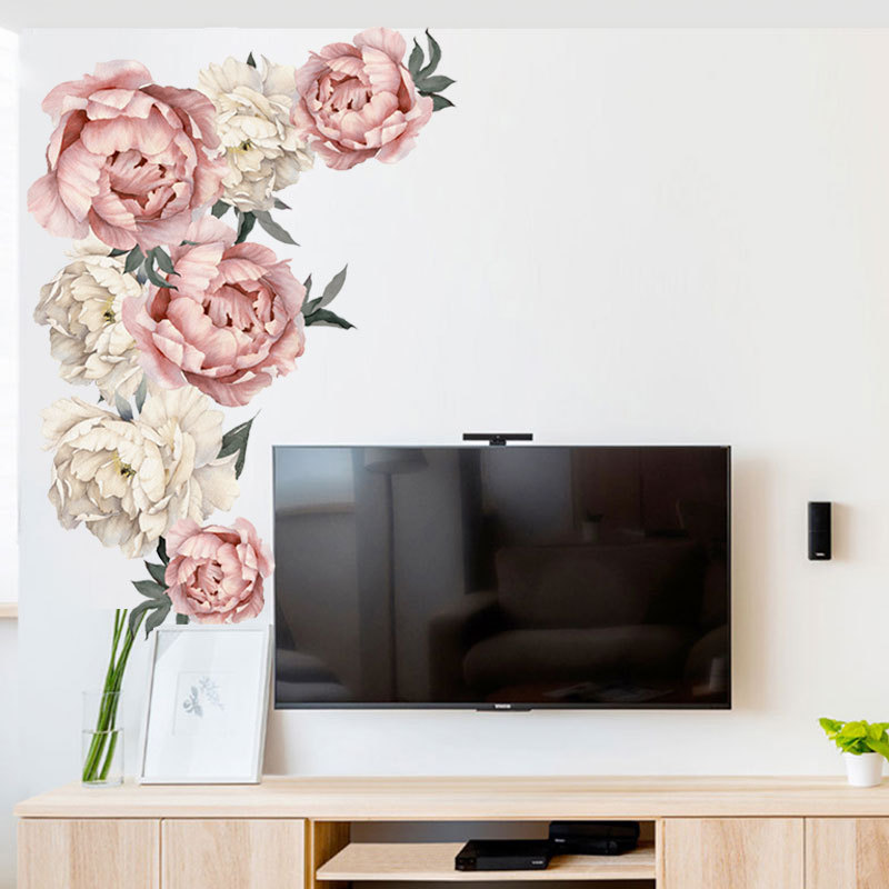 Peony Rose Flowers Wall Sticker Art Nursery Decals Kids Room background Home Decor Gift PVC High Quality Wall Stickers 40 *60cm