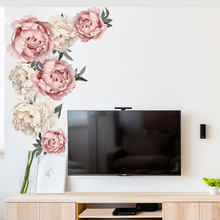 Peony Rose Flowers Wall Sticker Art Nursery Decals Kids Room background Home Decor Gift PVC High Quality Wall Stickers 40 *60cm(China)