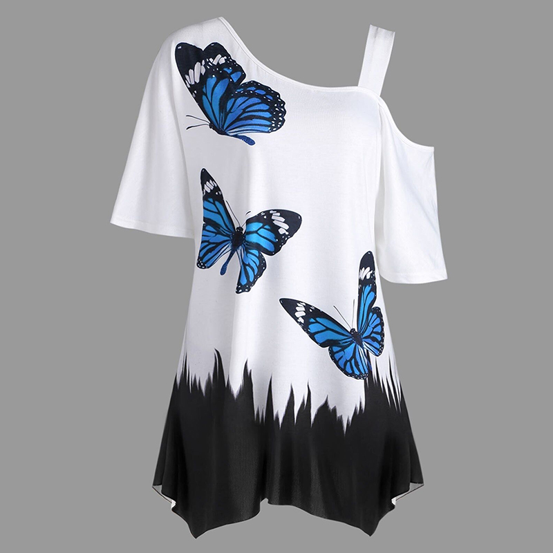 summer loose casual t shirt Women Plus Size One Shoulder T-shirt Butterfly Pattern Tee Tops Short Sleeve t shirt treroninae