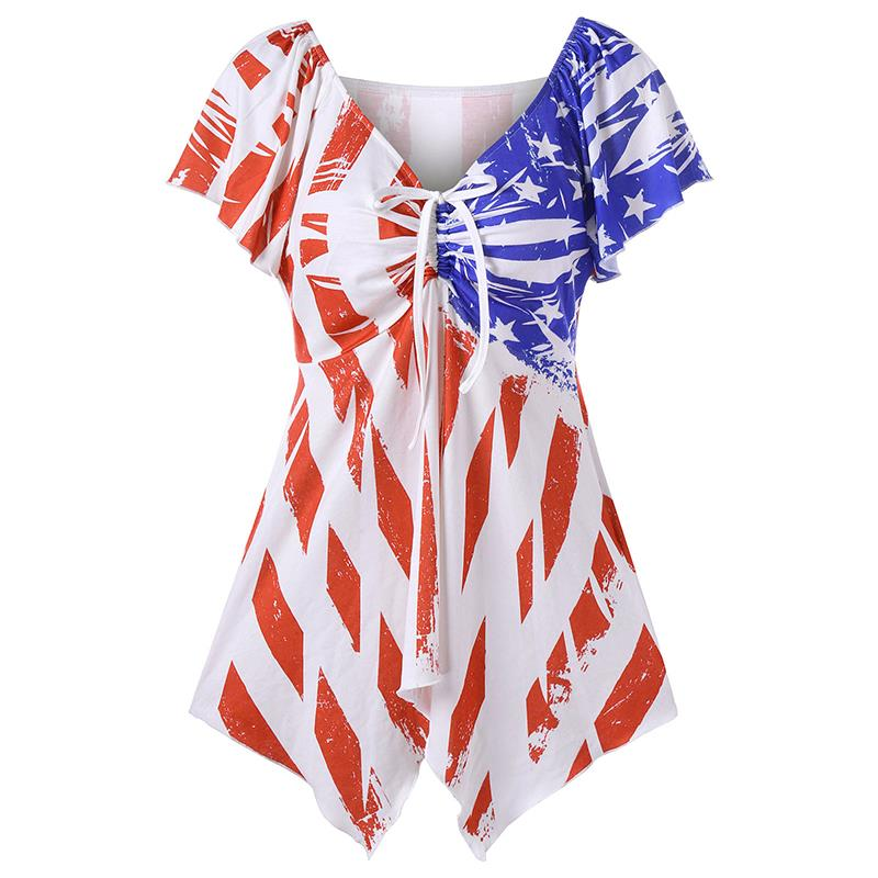 Summer Women T Shirt Dresses Print Striped American Flag 2017 Sexy V-Neck Butterfly Knot Loose Casual Dress LJ9619Y