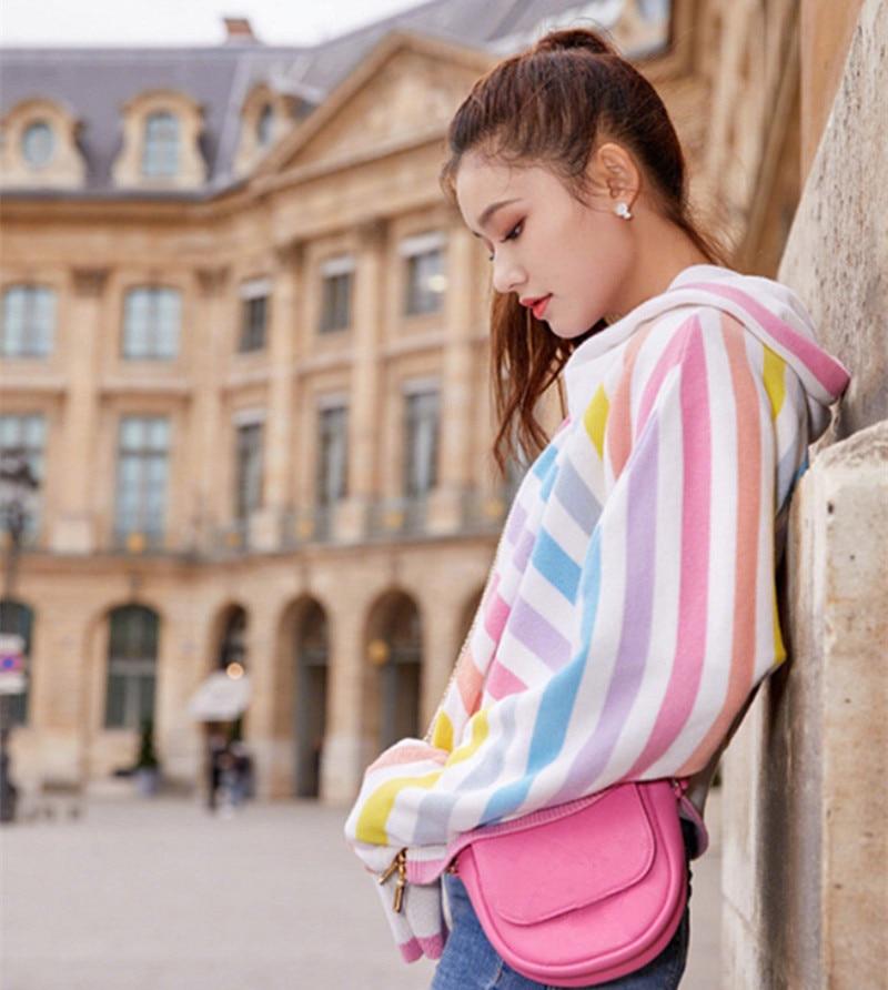 Printemps Streetwear À Automne Contraste Whitney Femmes Arc Jumper Couleurs Pull Gilet Capuche Wang 2019 Mode Multi Rayé vqXvCEw