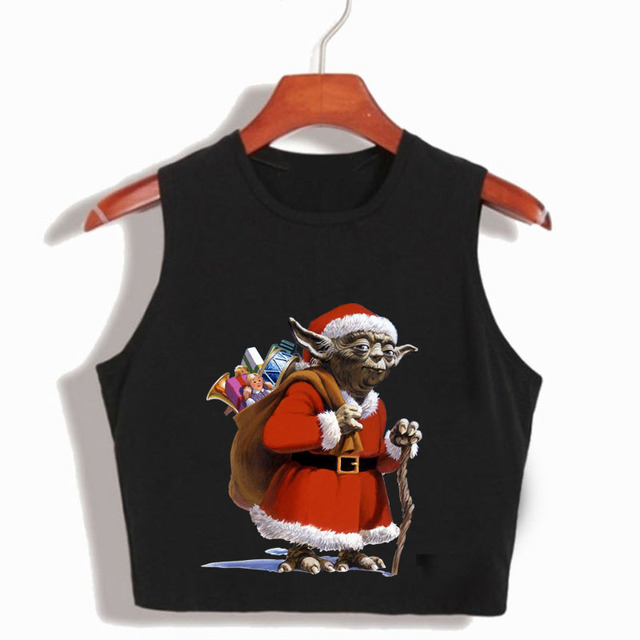 funny t shirts star wars christmas santa claus womens crop top 2017 summer fashion harajuku tops