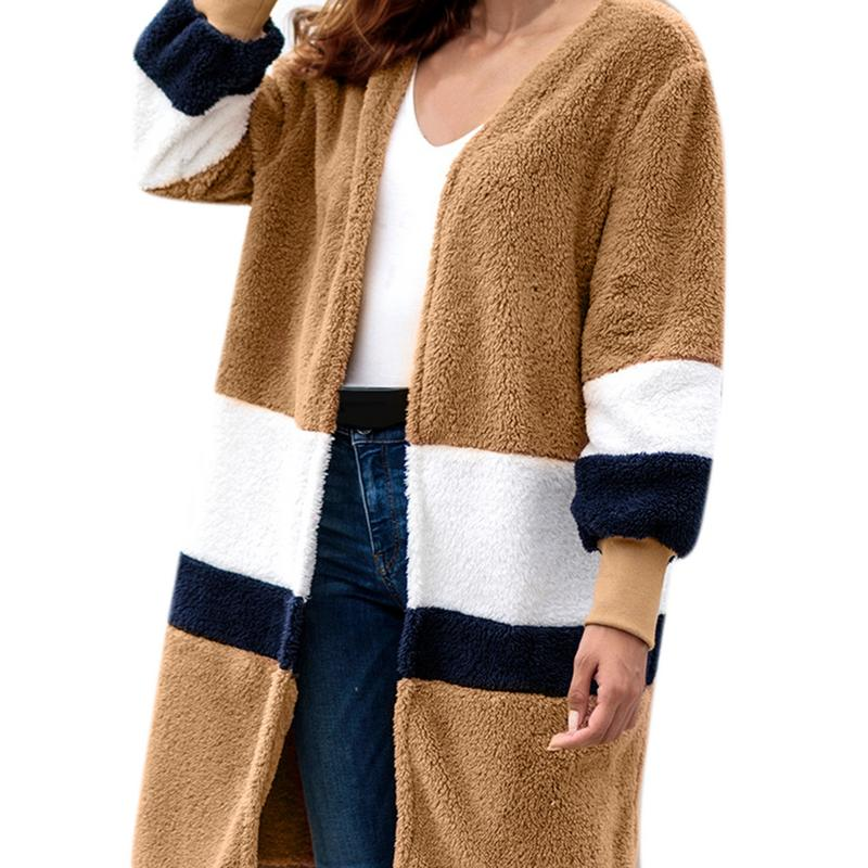 New Ladies Color Matching Sweater Long Cardigan Plush Imitation Fur Coat Sweater Autumn And Winter Explosions