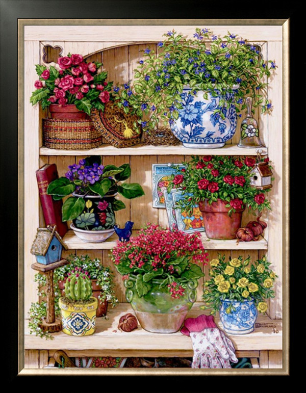 New Fors Embroidery Flowers on the shelf Botany Needlework 14CT Counted Unprinted DMC DIY Cross Stitch Kits Handmade Arts Decor