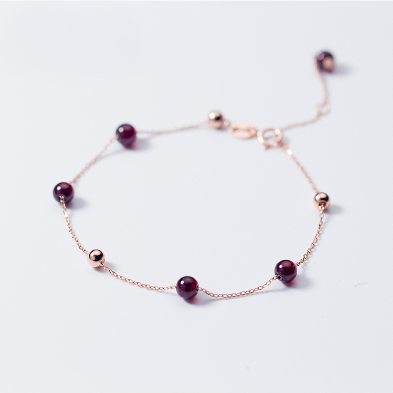 MloveAcc Genuine Silver Bracelet 925 Rose Gold Chain Bracelets for Women Girl Female Garnet Charms Bracelet Beads Jewelry Gift 4 6mm natural garnet wrap bracelet silver red wine charms bracelet round beads bracelets for women