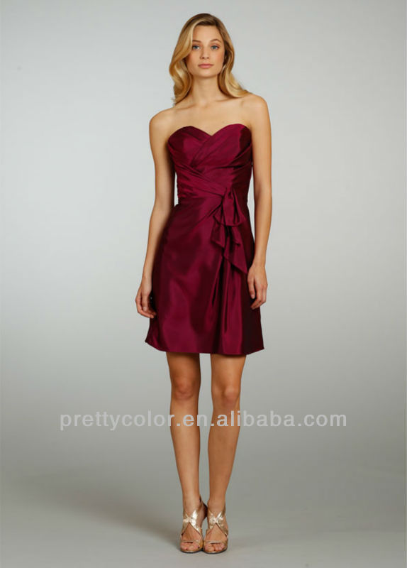 Sweetheart Red Wine A Line Taffeta Pleat Short Cascading D Junior Bridesmaid Dresses Dress Brand In From Weddings Events On