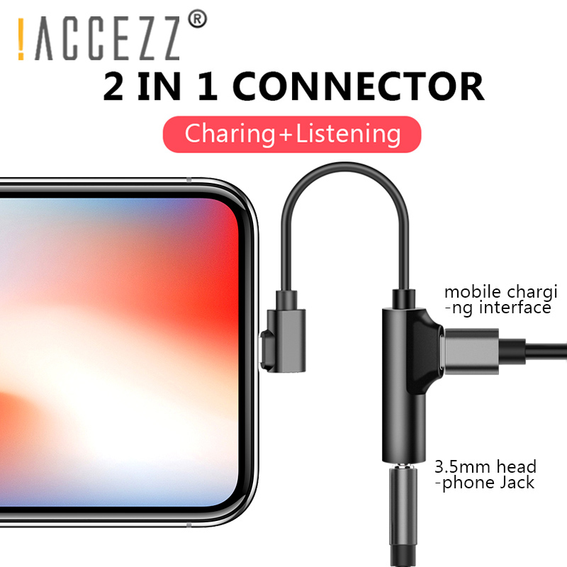 !ACCEZZ 2in1 Lighting 3.5mm Earphone Connector For Iphone X 8 7 Plus Audio Charge Adapter AUX Splitter Cable Adapters For Iphone