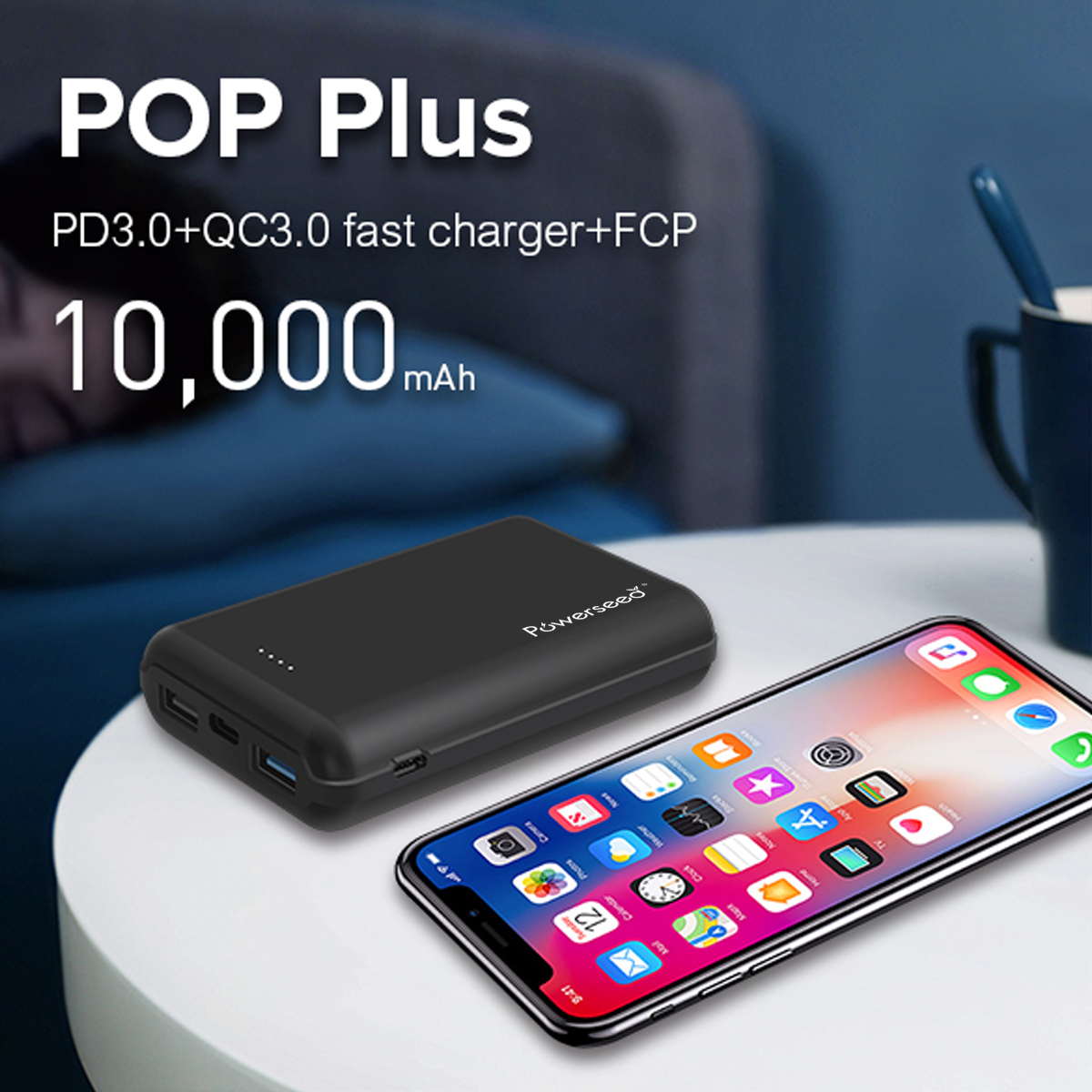 Powerseed POP Plus PD QC3.0 10000 mah Power Bank Tragbare Dual USB Typ-C Externe Batterie Schnell Ladegerät Für iPhone X 8 7 6 5