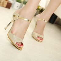 Women Sandals Gold Sliver Ankle Wrap Women High Heels Sandals Beautiful Ladies Sandals Summer Shoes