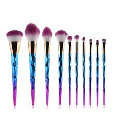10pcs Women Makeup Brushes Sets Spiral Handle Cosmetic Foundation Eyebrow Lip Brush Tool