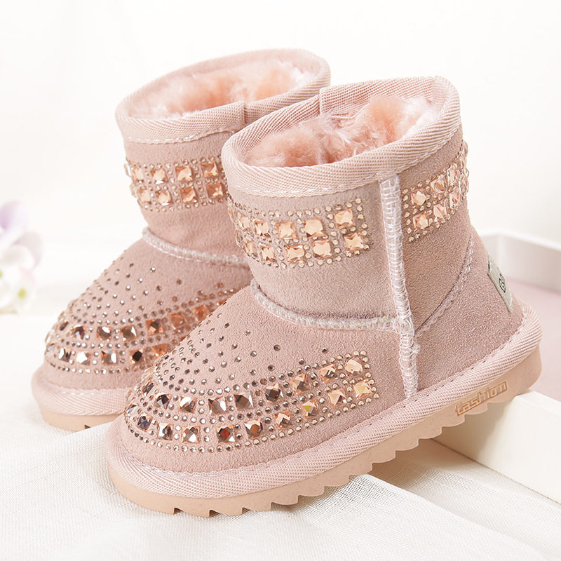 Kids Leather Bling Bling Shoes Reihnstone Footwear Ankle Princess Botas Black Pink Purple Toddler Baby Girls