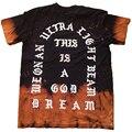 Envío Libre Para Hombre de Manga Corta camiseta Streetwear me Siento Como Pablo de Algodón T de La Moda Kanye West Camiseta Hombres de Gran Tamaño Negro Fuego