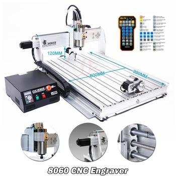4Axis USB Port CNC 8060 2.2KW Spindle March3 ER20 Collet CNC Router 3D Metal Cutting Machine Aluminum Engraver CNC Wood Milling 2