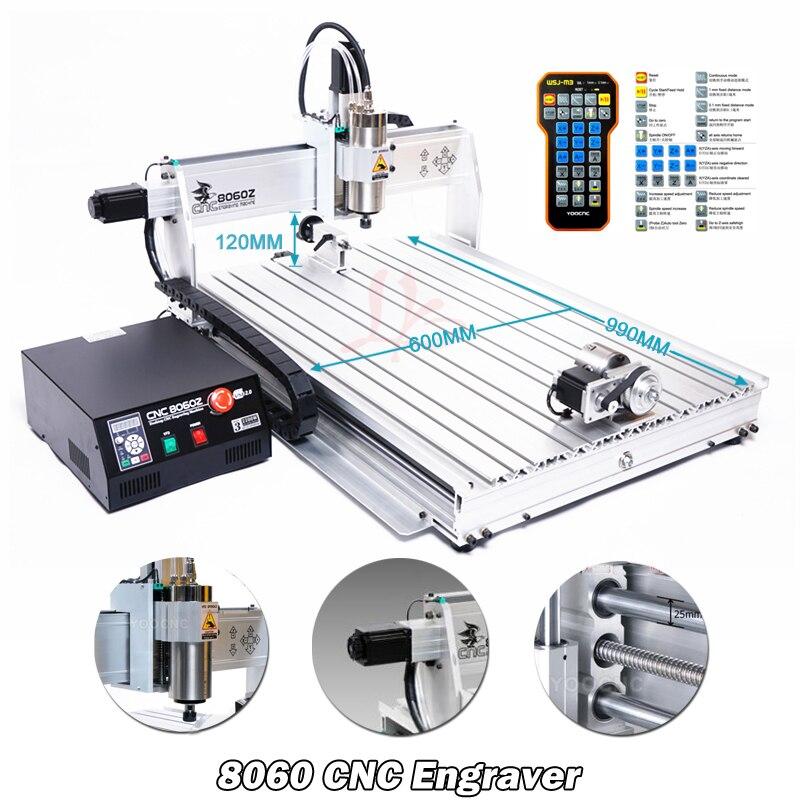 Máquina CNC Eixo 4 Porta USB Mini CNC 8060 Eixo 2200 W March3 ER20 Collet CNC Woodworking Router Moagem De Metal máquina Gravadora