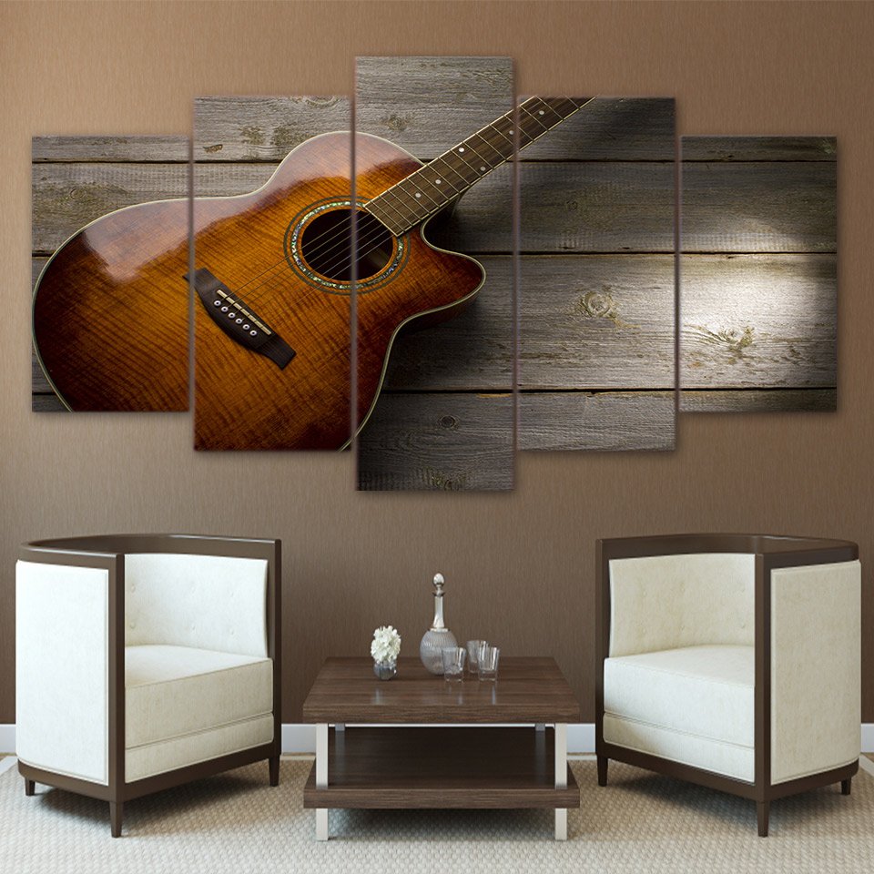 Modular Pictures HD Printed Canvas Wall Art 5 Pieces Classical Guitar Music Painting Home Decor Poster For Living Room Framework